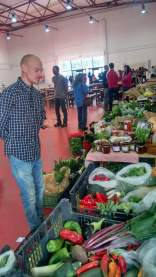Selling our veg at a local market